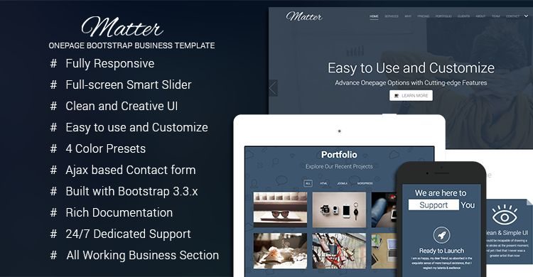 Matter - Free Bootstrap Business Template | GrayGrids