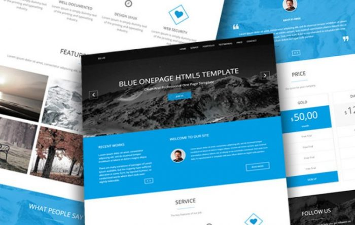 50 free responsive website templates and themes blue free onepage business template flashek