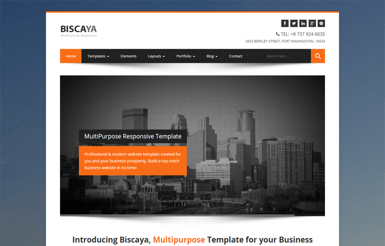 Biscaya Multipurpose Bootstrap HTML Template GrayGrids - Professional website templates