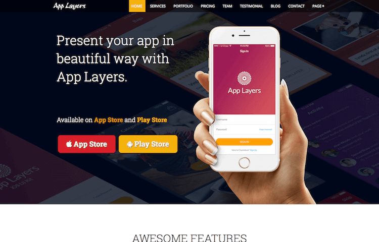 Layers Free Bootstrap Landing Page Template