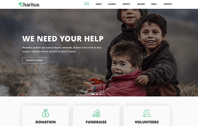 charitus non profit charity bootstrap website template graygrids