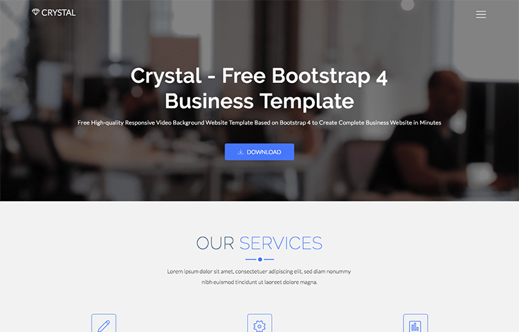 Crystal Free Bootstrap Business Template GrayGrids - Complete website templates free download
