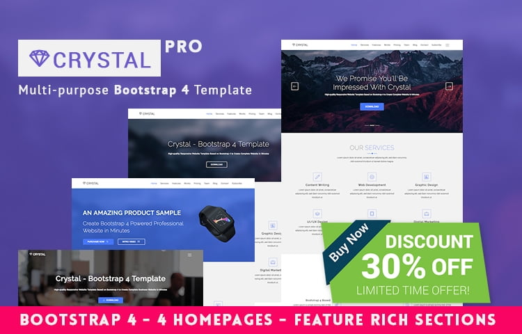 Crystalpro Is A Responsive Parallax Website Which Designed Minimalistic It Great For Production And Small Business Purpose