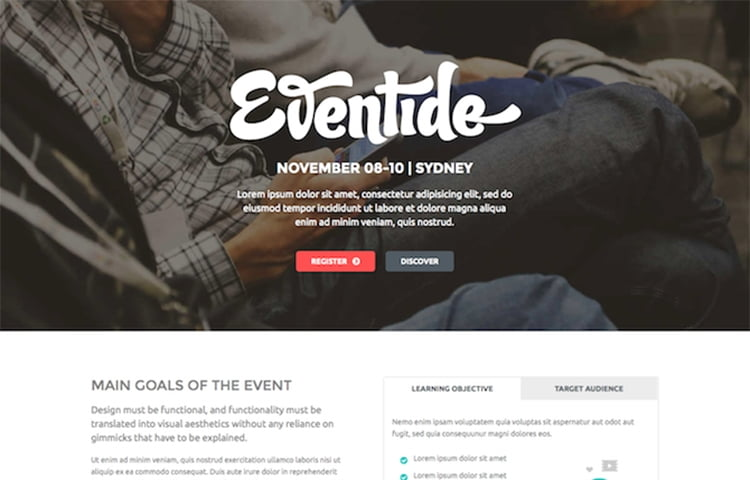 30 best free event and coming soon bootstrap templates 2018 eventide is a clean and modern design one page bootstrap template for any events or conferences they used html css and less to create the logically pronofoot35fo Image collections