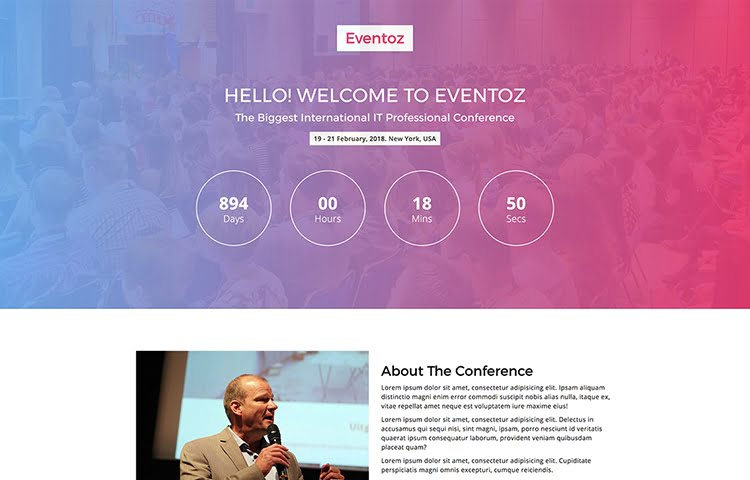 It Is Perfectly Designed For Any Events Meetup Congresses Conference Concert And Exhibitions Website Template The Simply Coded Design Created