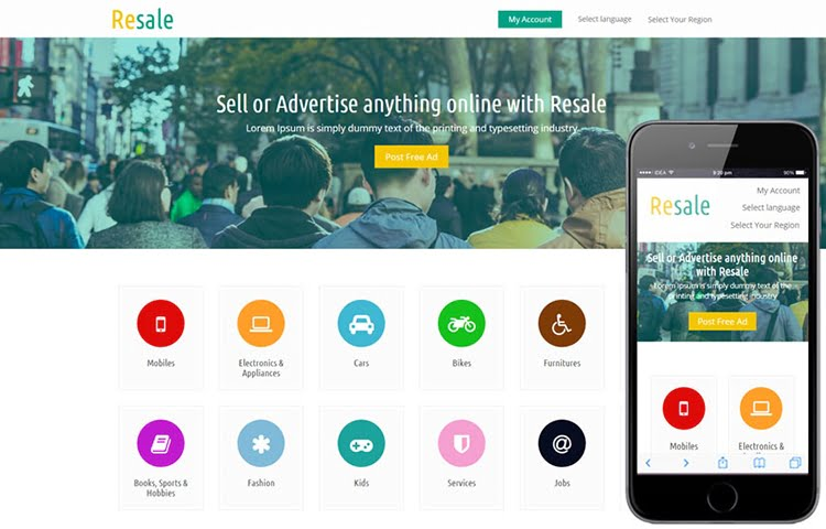 10 best free classified ads and listing website templates for Mobile site template free download