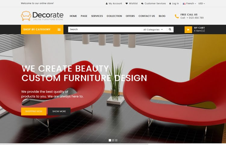 decorate furniture and interior website template graygrids