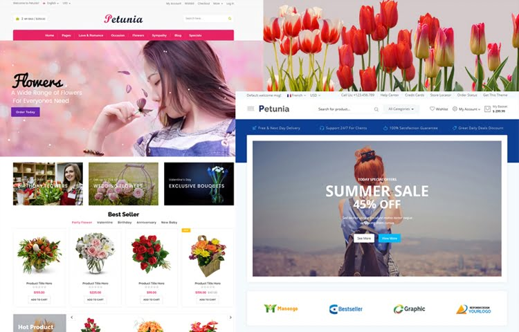 Petunia Flowers Fashion Store Website Templates GrayGrids - Fashion website templates