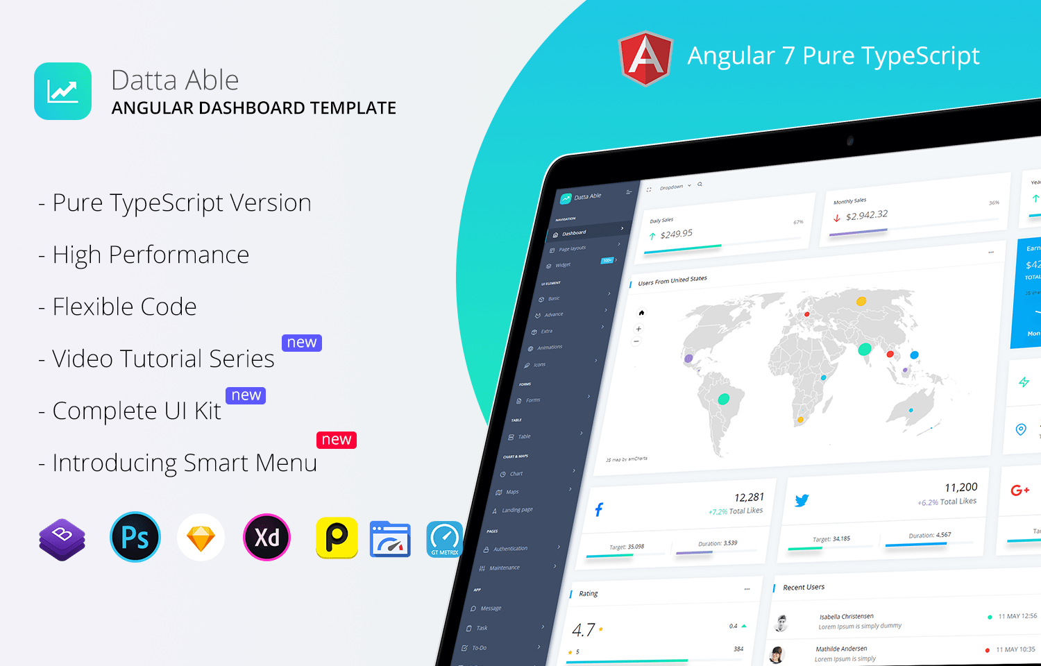 Datta Able - Bootstrap and Angular 7+ Admin Template | GrayGrids