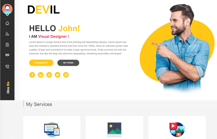 html templates for personal profile.html