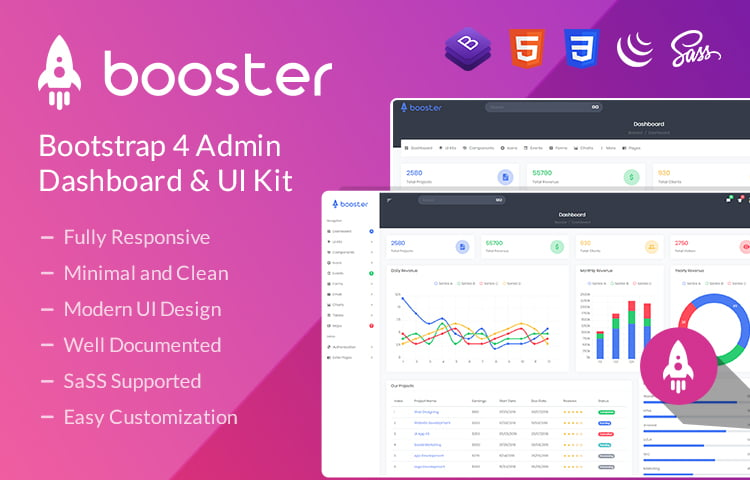 Booster - Bootstrap 4 Admin Template & Dashboard UI Kit