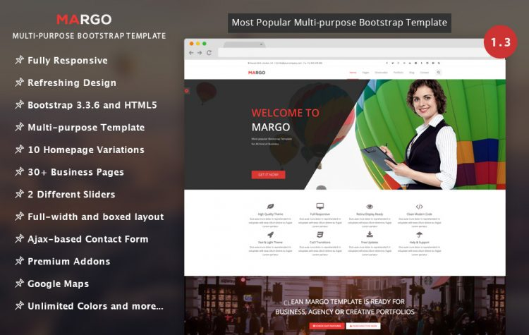 Margo free multi purpose bootstrap template graygrids margo free multi purpose bootstrap template accmission