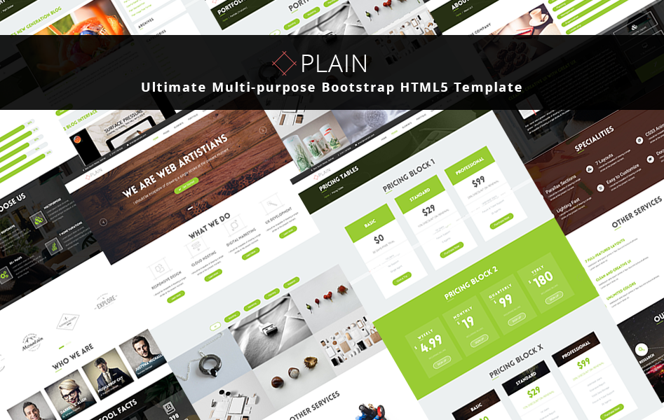 Plain multi purpose bootstrap html5 template graygrids plain multi purpose bootstrap html5 template flashek Images