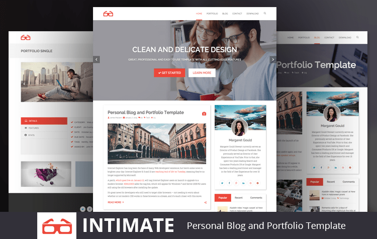intimate free blog and portfolio bootstrap html5 template graygrids