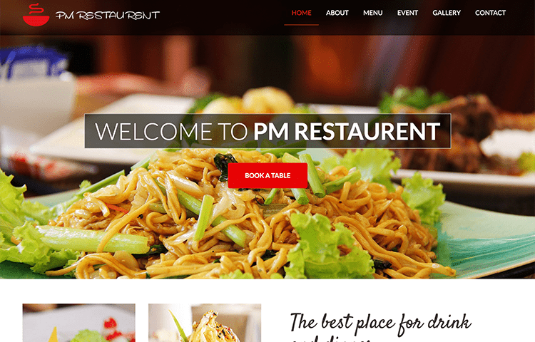 Pm restaurant and bar bootstrap template graygrids pm restaurant and bar bootstrap template maxwellsz