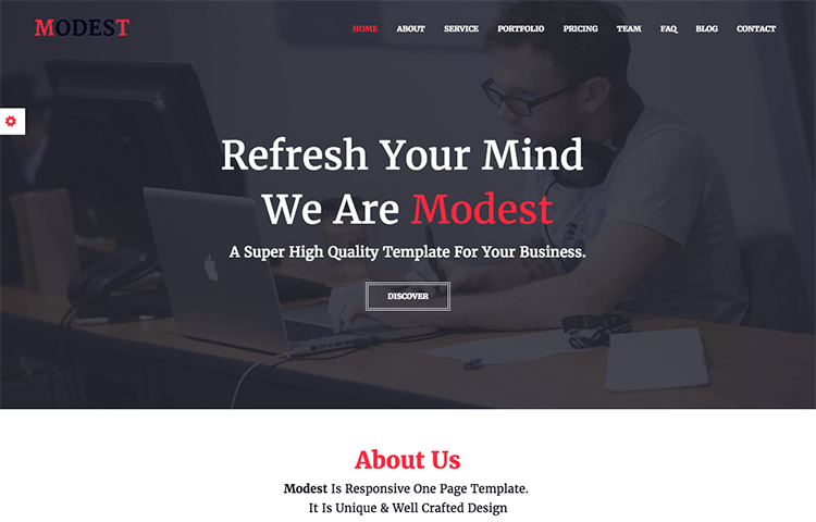 Modest - Responsive One Page Template | GrayGrids