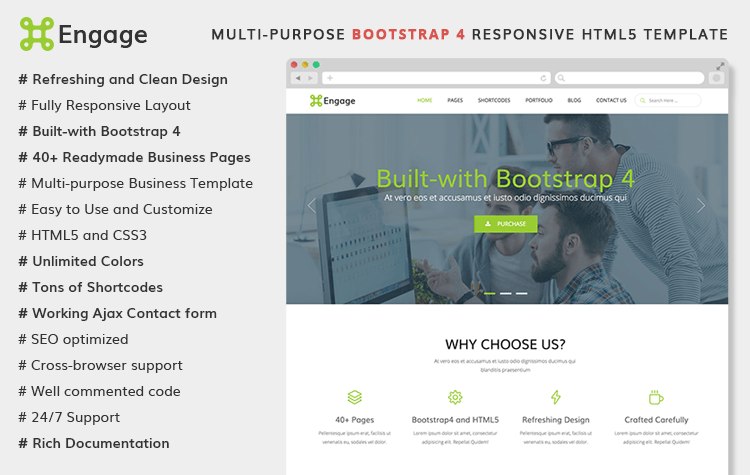 Engage - Free Multi-purpose Bootstrap 4 Template | GrayGrids