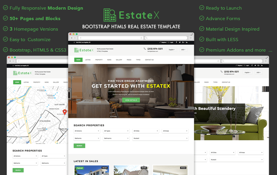 Estatex bootstrap html real estate website template graygrids estatex bootstrap html real estate website template pronofoot35fo Image collections