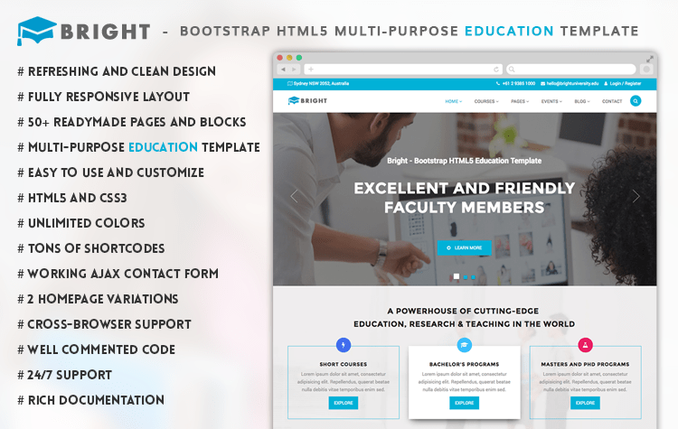 Bright - Free Bootstrap Education Template | GrayGrids