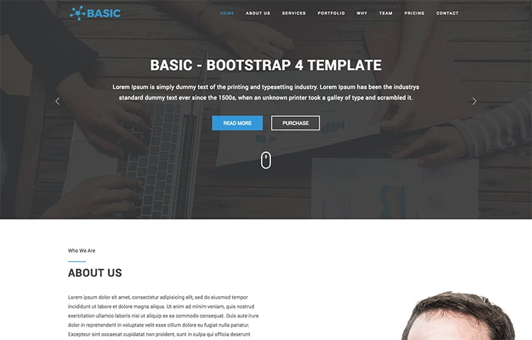 30 free bootstrap templates to download in 2018 basic is a multipurpose template that can be used for creating business or portfolio websites or landing pages it is a one page template which comes with 2 wajeb Images