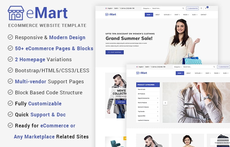 10 best free classified ads and listing website templates emart is one of the most popular modern ecommerce website template available in the market the template can be best suited for any scale of e commerce flashek Image collections