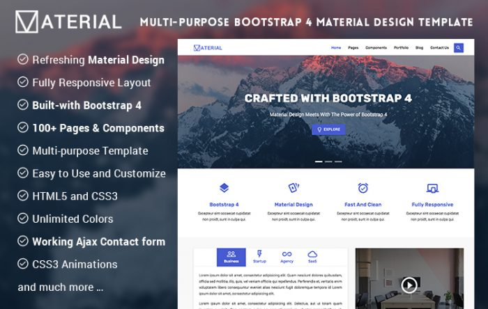 Responsive bootstrap html site templates themes graygrids material design bootstrap 4 pronofoot35fo Image collections