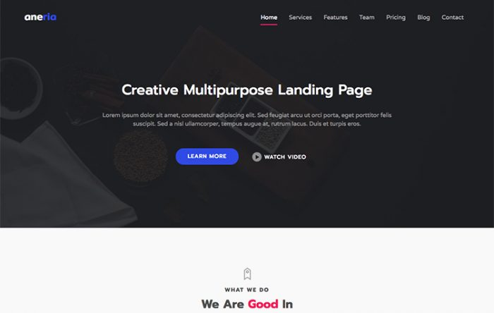 recover bootstrap one page business template graygrids