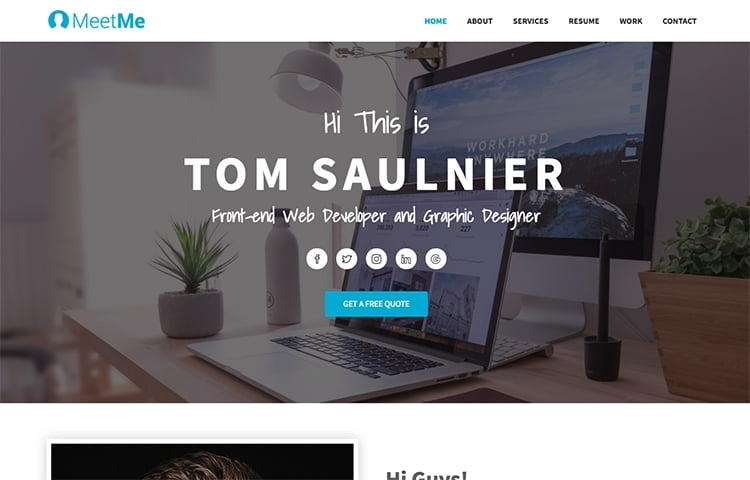 Meetme  Free Html Resume Website Template