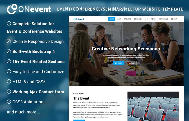 ONevent Event And Conference Website Template GrayGrids - Event website template