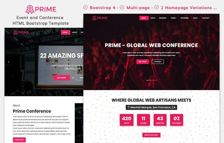 Prime - Event and Conference HTML Template | GrayGrids
