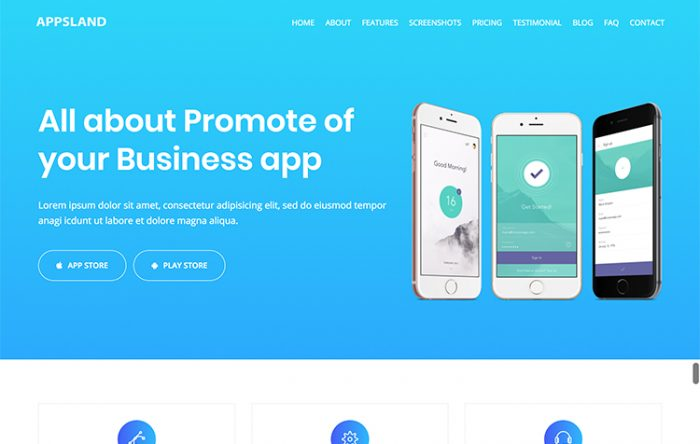 Professional html bootstrap business templates graygrids appsland landing page html5 template flashek Images