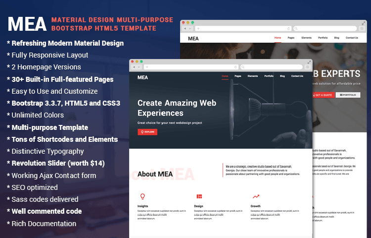 Mea Material Design Bootstrap Html5 Template Graygrids