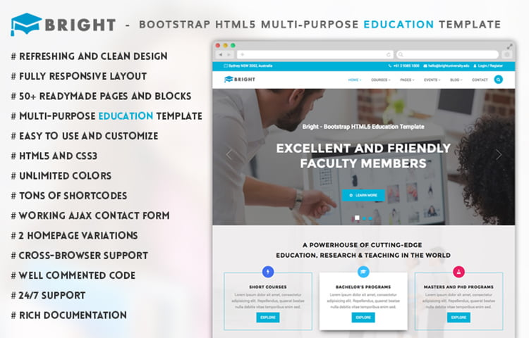 Bright Free Bootstrap Education Template Graygrids